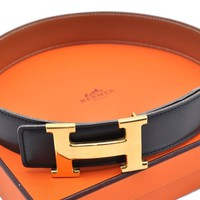 Authentic HERMES Ladies Reversible Leather Black Brown Belt Size 60 Box 62360