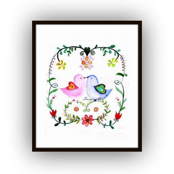 Love Birds watercolor painting floral farmhouse cottage chic decor lovebird illustration print Lover romantic gift for her home wall art