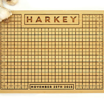 Personalized Cutting Board, Wedding Gift, Custom Engraved, Personalized Measurement Grid, Anniversary Gift, Bridal Shower Gift, Chef Gift