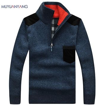 Mu Yuan Yang Men's Sweaters Thick Warm Winter Zipper Pullover Cashmere Wool Sweater Men Casual Knitwear Fleece Velvet Clothing