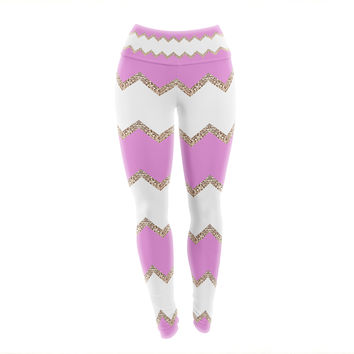 "Monika Strigel ""Avalon Pink Chevron"" Rose White Yoga Leggings"