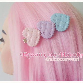 Pastel heart Cookie Hair clip,Fairy Kei Pastel Goth hair Clip,Kawaii Hair Clip,Food jewellery,Cookie hair clip,Fairy Kei Jewellery