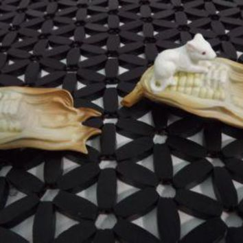 Vintage adorable Set of 2 Small Mice Mouse on Corn Figurine Bone China Md Japan