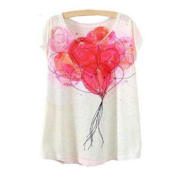 Cute Floating Balloons All Over Print Flowy Loose T-Shirts