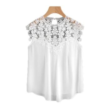 Keyhole Back Daisy Lace Shoulder Shell Top Summer Blouses for Women 2017 White Cap Sleeve