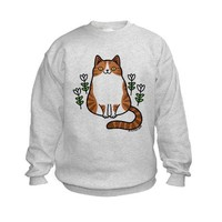 Brown and White Cat with Flowers Kids Sweatshirt on CafePress.com