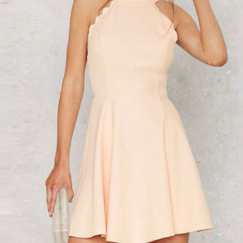 Cream Halter Scallop Trim Open Back Skater Dress