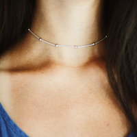 silver rain drop beaded choker - satellite chain, minimal, delicate, dainty