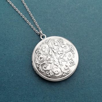 Round, Flower, Locket, Photo, Silver, Necklace, Birthday, Best friends, Sister, Gift, Jewelry