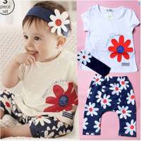 Baby Girl Flower Print Short Sleeve T-shirt Pant Headband 3 PCS Summer Set