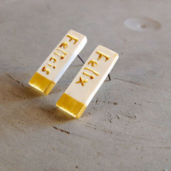 Harry Potter Earrings Felix Felicis Lucky Charm Earrings Gold Dipped Geometric Earrings Geek Gifts Nerd Gifts Hypoallergenic Earrings