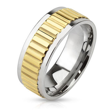 Gold Bar - FINAL SALE Raised bar design center band silver and gold IP stainless steel men's ring