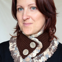 Crocheted scarf with buttons,for woman, brown, mix of wool and acrylic yarn