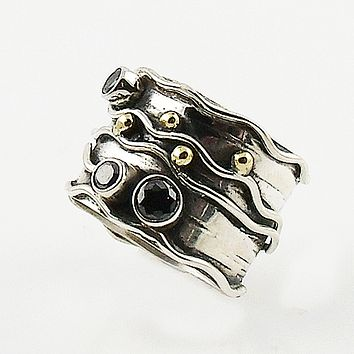 Black Onyx Two Tone Sterling Silver Wave Band Ring