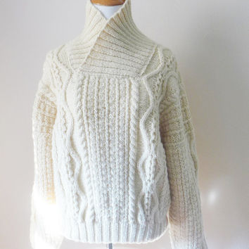 Hand Knit Irish Aran Wool Pullover Sweater with Collar