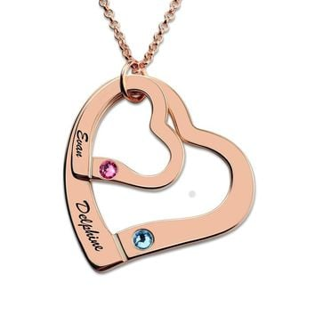 AILIN Rose Gold Color Personalized Engraved Necklace Heart In Heart Necklace with Birthstones Love Jewelry for Couples