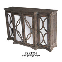 Crestview Galloway 4 Door Rustic Wood and Mirror Sideboard - CVFZR1236