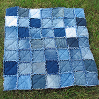 Denim Baby Blanket with Ragged Seams and Flannel Backing