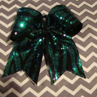 Green and Black Sequin Zebra Cheer Bow