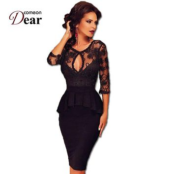 RJ80206 Comeondear Work Dress Black Half Sleeve Sheer Lace Embroidery Peplum Dress Super Deal Women Elegant Formal Casual Dress
