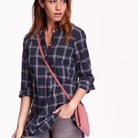 Old Navy Womens Plaid Tunic Pullover