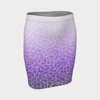 Ombre purple and white swirls doodles Fitted Skirt Fitted Skirt