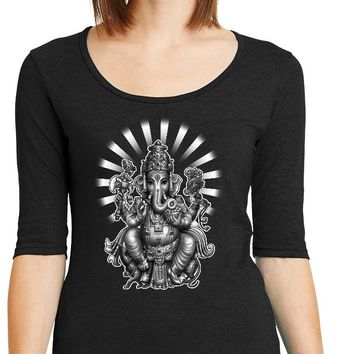 Womens Yoga T-shirt Ganesha 1/2 Sleeve Scoopneck