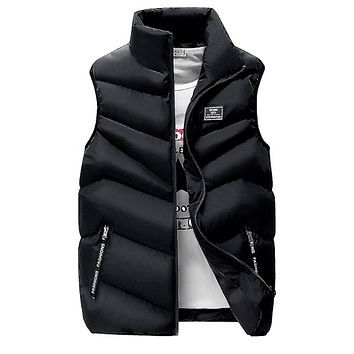Mens Classic Black High Collar Puffer Vest