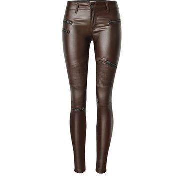 Womens Faux Leather Jackets Skinny Jeans Motorcycle Pants Jeans Pencil Pants Casual Zipper Coffee Leather Denim Trousers