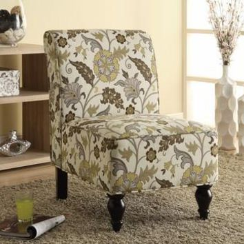 Brown / Gold Floral Traditional Accent Chair