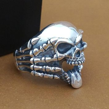 Sterling Silver Jewelry Handmade Thai Silver Ring Men's Claw Skull