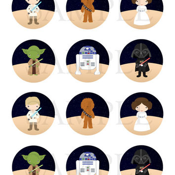 Star Wars inpired. Stickers, Cupcake Topper, Tags. Star Wars inspired Birthday Party. Digital file