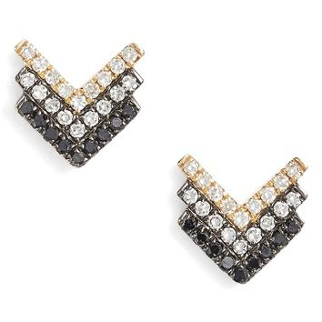 EF COLLECTION Chevron Diamond Stud Earrings | Nordstrom