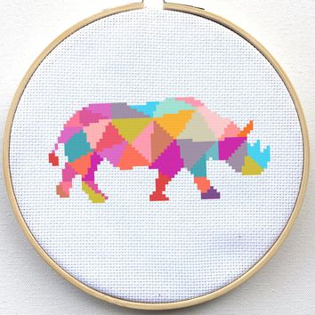 Geometric Rhino Cross Stitch Pattern - Polygonal Pattern