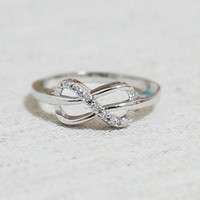Infinity Ring with Tiny cubic zirconia stones by aprilandseptember