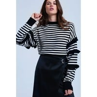 Black striped sweater with ruffle
