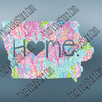 Iowa Heart Home Decal | I Love Iowa Decal | Homestate Decals | Love Sticker | Preppy State Sticker | Preppy State Decal | 055