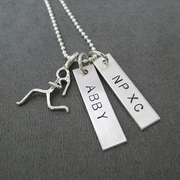 Cross Country Sterling Silver Necklace with Runner Girl and 2 PERSONALIZED Pendants - NAME and SCHOOL - 16, 18 or 20 inch - Cross Country
