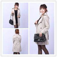 Women : double-breasted trench coat midi pattern outerwear GHL0213