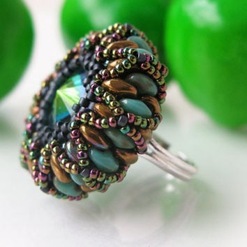 Beaded ring, beadwork, green, brown, nature, fashion 2015, exclusive handmade bib ring, jewelry, glass rivoli, gift for women