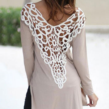 Autumn Round Neck Back Lace Hollow Stitching Long Sleeve Slit T-shirt Dress