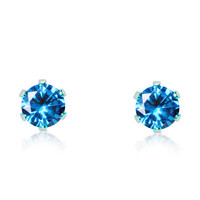 Genuine Aquamarine and Titanium stud earrings in either 3mm, 4mm, 5mm or 6mm sizes!