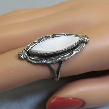 1970s Native American Mother of Pearl Sterling Ring, Size 6.50