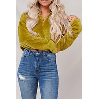 Feeling It Cropped Pullover Jacket (Ecru Olive)