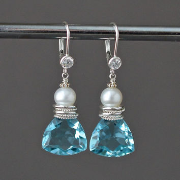 Blue Bridal Statement Earrings, Sky Blue Gem Pearl, CZ Leverbacks, Sterling Silver Drop Earrings, Bridal Glam
