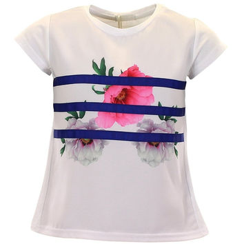Fun&Fun - Girls Ribbon Flower Short Sleeve Summer T-Shirt, White FINAL SALE