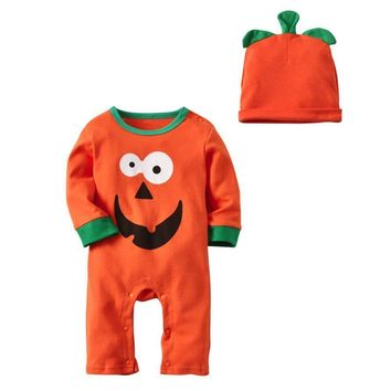 Baby Boys Girl Halloween Clothes Long Sleeve Romper Jumpsuit Cap Outfit Kids Halloween Pumpkin Long Sleeve Hat Two Piece Set
