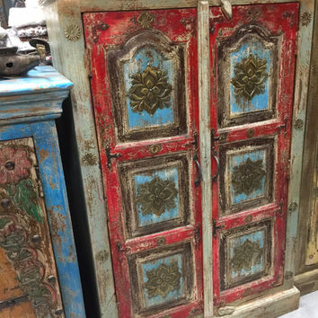 Reclaimed Antique Cabinet Brass Accent Storage Armoire India Furniture