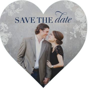 Pretty Cute Heart Shaped Personalized Save the Date Cards