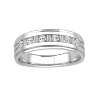 1/2ct tw Mens Diamond Wedding Ring with Round & Baguette Cut Diamonds in 14K White Gold - Men's Wedding Rings - Wedding Rings